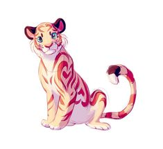 Animal Drawings Bourbon/Cadbury/Pastel Heart Tiger by TastesLikeAnya on DeviantArt - Cute Animal Drawings, Animal Sketches, Cute Drawings, Cute Creatures, Fantasy Creatures, Tiger Art, Creature Drawings, Anime Animals, Creature Design