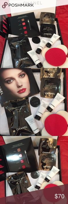 Deluxe Chanel beauty box Luxury Chanel 14 beauty samples, includes: big Chanel box with tissue and logo seal, 6 make sponges 2 red round/4 white smaller round from Sephora, 1 Le Volume de Chanel mascara #10 Noir, 3 Hydra Beauty (serum, micro serum & gel creme) 2 Le Lift firming anti-wrinkles and 1 palette of lipstick Rouge Allure Gloss shades colors ( 11 Sensual, 13 Affriolant, 18 Seduction, 19 Pirate) with  tow small applicators. Amazing high end samples by Chanel❤️ CHANEL Makeup Eye Primer