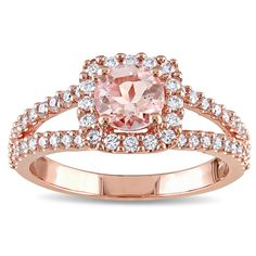 Miadora Signature Collection 14k Rose Gold Morganite and 1/2ct TDW Diamond Halo Split Shank Engageme