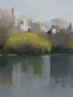 Lisa Breslow, Central Park Lake 1 2012, Oil and pencil on panel - beautiful reflection