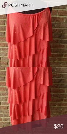 f94b2a6b5a9 Lane Bryant. Polyester Spandex. Ruffled top in the front with gold beading  and solid on the back with spaghetti straps. Lane Bryant Tops Blouses