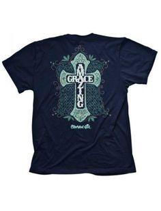 """Amazing Grace Cross"" Kerusso Cherished Girl Short Sleeve Navy T-Shirt – Sharing Our Faith"