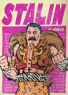 Замечательный иллюстратор Мясник Билли (Butcher Billy) сделал серию злободневных плакатов на тему супергероев из комиксов, которым он сопоставляет известных личностей.