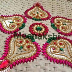 Rangoli Designs Flower, Rangoli Ideas, Rangoli Designs Diwali, Flower Rangoli, Embroidery On Kurtis, Kurti Embroidery Design, Embroidery Hoop Art, Hobbies And Crafts, Diy And Crafts