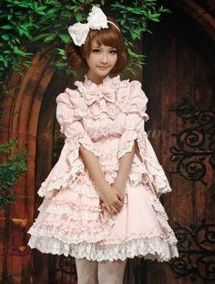 Sweet Long Sleeves Cotton Blend Light Pink Lolita Outfits - Lolitashow.com