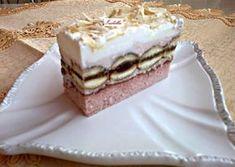 Epres tejszínes szelet Hungarian Recipes, Hungarian Food, Vanilla Cake, Sweet Recipes, Tiramisu, Food And Drink, Dessert Recipes, Sweets, Cookies