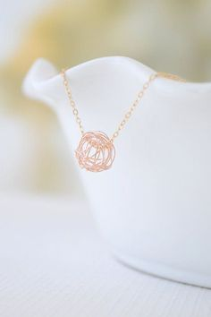 Rose Gold Tangle Ball Necklace simple rose gold