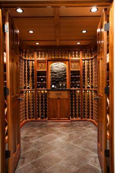 A look at a custom mahogany cellar with clear coat by WineRacks.com