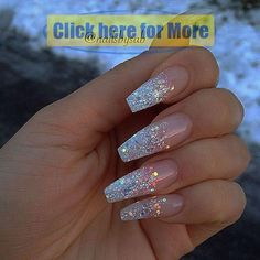 Holo glitter tip long coffin nails by Holographic . Coffin Nails coffin nails w glitter Diy Glitter, Clear Glitter Nails, Glitter Rosa, Glitter Acrylics, Holographic Glitter, Silver Glitter, Sparkle Nails, Glitter Force, Black Nails