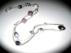 Lilac bead knotted bead necklace. Available £10 at http://www.simplysilverbyrebecca.com/simply-bead-earrings.php