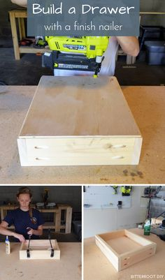 How to Build a Drawer | build a drawer with a finish nailer and pocket holes with this easy tutorial from Bitterroot DIY