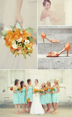 mint green and orange wedding theme