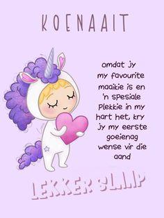 Goeie Nag, Winnie The Pooh, Disney Characters, Fictional Characters, Afrikaans, My Favorite Things, Night, Amanda, Fantasy Characters