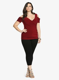 Torrid: Cold Shoulder Surplice Top, Red -- cute shoulder detail and drape