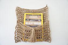 Magazine, newspaper organizer, jute hanging pouch by amymumcrochet