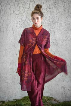 """Dress """"Viola"""" in red rayon."""