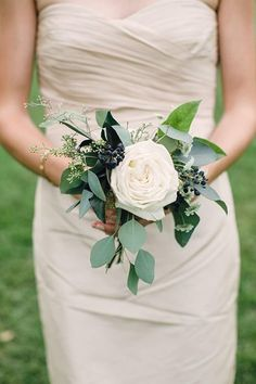 Single Rose Bridesmaid Bouquet is part of Small wedding bouquets - This simple, elegant bouquet is made from a single cabbage rose, with eucalyptus and wild weed to accent It's perfect for bridesmaids and gives a romantic touch Simple Bridesmaid Bouquets, Small Wedding Bouquets, Fake Wedding Flowers, Hydrangea Bridesmaid Bouquet, Budget Wedding Flowers, Small Weddings, Barn Weddings, Bridal Flowers, Destination Weddings