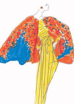 YSL sketch in Marrakech, Pintemps-Eté 1989 Fashion Art, Retro Fashion, Fashion Models, Fashion Design, Fashion Online, Christian Dior, Yves Saint Laurent, Fashion Sketchbook, Fashion Sketches