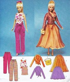 BARBIE DOLL Clothes Sewing Pattern Pants Skirt Top Blouse Purse OOP Uncut 3931 #patterns4you