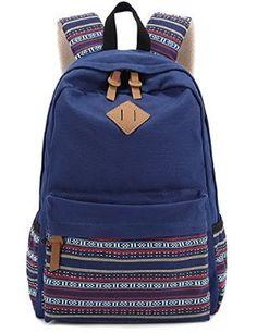 1a76d020672 Hmxpls Unisex Fashionable Canvas Zip Bohemia Boho Style Backpack School  College Laptop Bag for Teens Girls