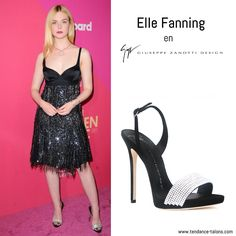 """Elle Fanning en sandales """"Sophie Crystal"""" signées Giuseppe Zanotti -  Billboard Women in Music 2017 at the Ray Dolby Ballroom à Hollywood"""