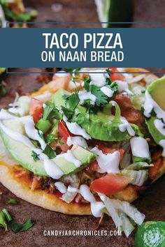There is nothing better than combining two classic meals into one dish. Taco Pizza on Naan Bread combines tacos and pizza into one and is pure heaven. Taco Pizza, Lunch Recipes, Healthy Recipes, Yummy Recipes, Pizza Recipes, Beef Recipes, Healthy Food, Recipies, Leftover Taco Meat