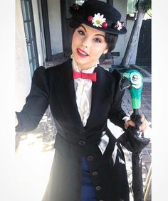 """amberarden⭐️ ☂️""""It just takes a spoon full of sugar..."""" 👜🍧 For #tbt here's one of my last pics of my Mary Poppins hair & makeup that I did! One of my favorite cosplays I did in Oct. I handmade the shirt ruffles, bow, painted my @eezitec parrot for my umbrella, & altered this lovely @tragicmountain jacket & hat to bring Her to life. Oh & a new Disney cosplay is underway... ⛅️💕"""