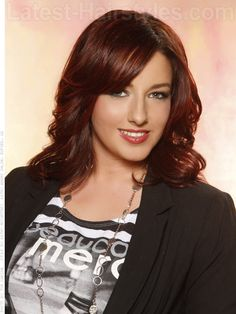 dark layered brown hair red highlights