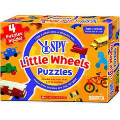 $12.99 - I Spy Little Wheels puzzles show lots of vehicles on 4 separate puzzles.• rGraduated piece counts continue the fun as your child develops.r• Each puzzle also has 4 riddles to solve! • Let the games begin!rMade in the USALike puzzles? See ?em all here!