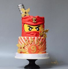 Ninjago birthday cake made with Satin Ice Fondant Ninja Birthday Cake, Ninja Birthday Parties, Novelty Birthday Cakes, Birthday Cake Girls, Lego Ninjago Cake, Ninjago Party, Lego Cake, Bolo Lego, Lightning Mcqueen Birthday Cake