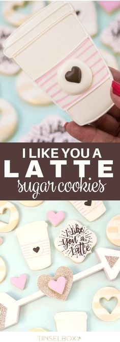 These decorated sugar cookies are so cute for Valentines or your girlfriends! Delicate heart details and coffee themed royal icing are crowd pleasers. If you love coffee and baking, these I Like You a Latte Decorated Sugar Cookies are a must create! Valentines Day Cookies, Valentines Gifts For Boyfriend, Christmas Sugar Cookies, Birthday Cookies, Coffee And Donuts, Coffee Cookies, Iced Cookies, Coffee Cup, Easy Royal Icing Recipe