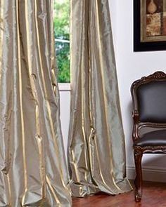 Providence Silk Taffeta Stripe Curtains & Drapes: HPD'S exclusive Silk and Taffeta drapes & curtains represent extravagant luxury with beautiful details. Tailored from the finest silks. Exclusive Standard Features: Silk High Quality Cotton Lining Silk Curtains, Striped Curtains, Curtains Living, Drapery Panels, Curtains With Blinds, Luxury Curtains, Shower Curtains, Cama Box, Window Coverings