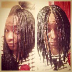 Me in the process of braiding my hair into a braided bob. Small Box Braids, Short Box Braids, Hair Dos, Twists, Bob, Hair Beauty, Dreadlocks, Chic, Nails