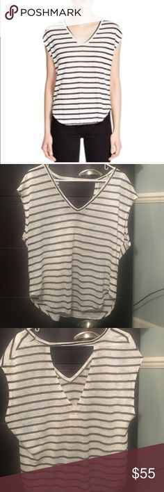 Chaser striped open back tee Adorable striped tee with keyhole in the back. Worn once. Chaser Tops Tees - Short Sleeve