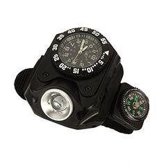 TIanNorth® Multifunctional watch flashlight LED light 5 speed USB charge Wrist watch torch Night running lamp waterproof anti fall compass