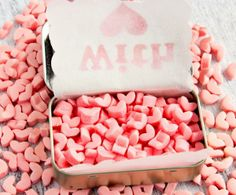 Heart-shaped mints.
