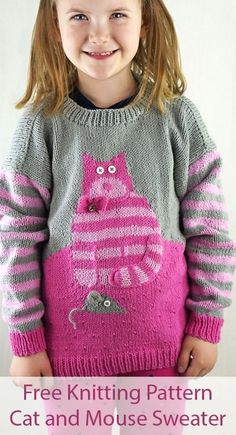 Free knitting pattern for cat and mouse sweater - long-sleeved pullover for children. Sizes 2... 6. Designed by amy bahrt for cascade yarns. Dk weight yarn. Baby Sweater Knitting Pattern, Knitting Patterns Free, Free Knitting, Free Pattern, Baby Knitting, Baby Sweaters, Long Sweaters, Baby Pullover, Dk Weight Yarn