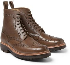 $465, Brown Leather Brogue Boots: Grenson Fred Grained Leather Brogue Boots. Sold by MR PORTER. Click for more info: https://lookastic.com/men/shop_items/291213/redirect