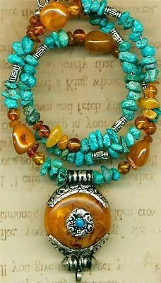 Tibet Orange Copal Pendant Baltic Amber Turquoise Necklace Earring Set 19"