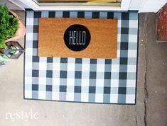 DIY Painted Buffalo Check Layered Doormat | Robb Restyle