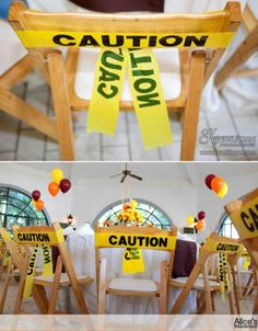 Construction Party Ideas wrap the chairs with caution tape! Genius!