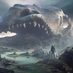 Dark Fantasy Art, Fantasy Artwork, Fantasy Art Landscapes, Fantasy Concept Art, Fantasy Landscape, Space Fantasy, Arte Horror, Horror Art, Fantasy Places