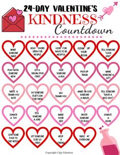 Looking for creative Valentine's Day activities to do with kids? This printable and colorable kindness countdown will make the entire month about giving and showing love to others. So fun! School Holiday Activities, Valentines Day Activities, Valentines Day Party, Valentine Day Crafts, Be My Valentine, Activities For Kids, Kindness Projects, Kindness Activities, Alphabet Letter Templates