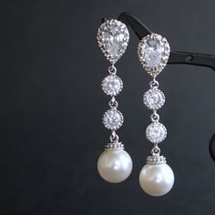 Wedding+Pearl+Jewelry+Bridal+Earrings+Cubic+by+poetryjewelry,+$38.50