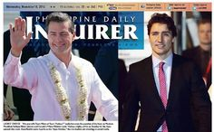 A pair of photos filled the top half of the Philippine Daily Inquirer broadsheet. The caption: 'Ladies choice: Are you with Team Nieto or Team Trudeau?'