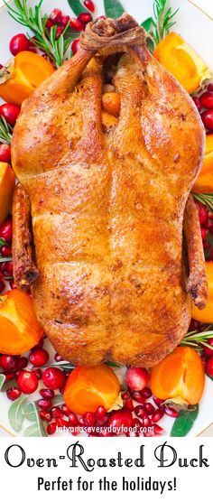 Oven-Roasted Duck (video) - Tatyanas Everyday Food Baked Duck Recipes, Whole Duck Recipes, Chicken Recipes, Thanksgiving Recipes, Holiday Recipes, Thanksgiving 2020, Christmas Recipes, Dinner Recipes, Duck Recipe Oven