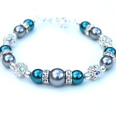 Dark Teal and Silver Gray Pearl Rhinestone Bracelet by AMIdesigns, $24.00