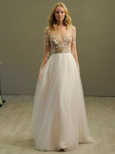 Hayley Paige 2016 rosewater long sleeve A-line wedding dress with illusion floral beaded bodice and bateau neckline and low open back