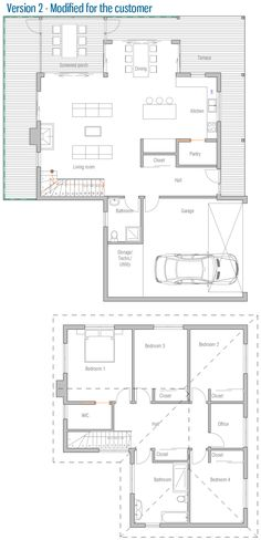 Scandinavian House Plans w3288-v1 - scandinavian inspired house plan, open floor plan, 2