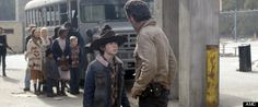 The Walking Dead Season 4 - Chandler Riggs (Carl) with Andrew Lincoln (Rick Grimes) #TheWalkingDead